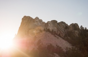 Mount Rushmore on a Beautiful morning, viewed from far below.