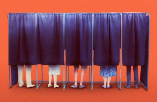 voters in booths.